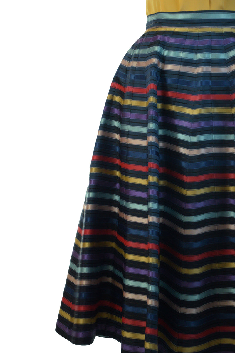 Lustrous 1950s Ribbon Stripe Gored Skirt in Blue with Purple, Aqua, Pink Red and Yellow