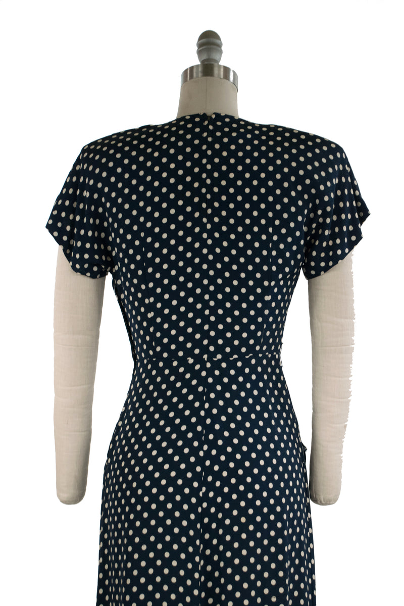 Smart 1940s Post War Navy Blue and White Dotted Rayon Dress