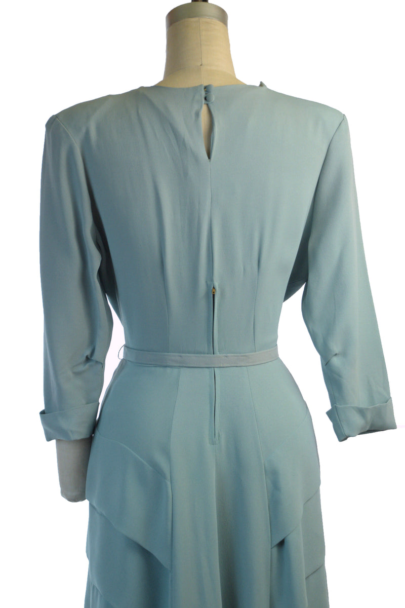 Elegant 1940s Cocktail Dress in Robin's Egg Blue Rayon with Tiered Skirt and Neck Draping