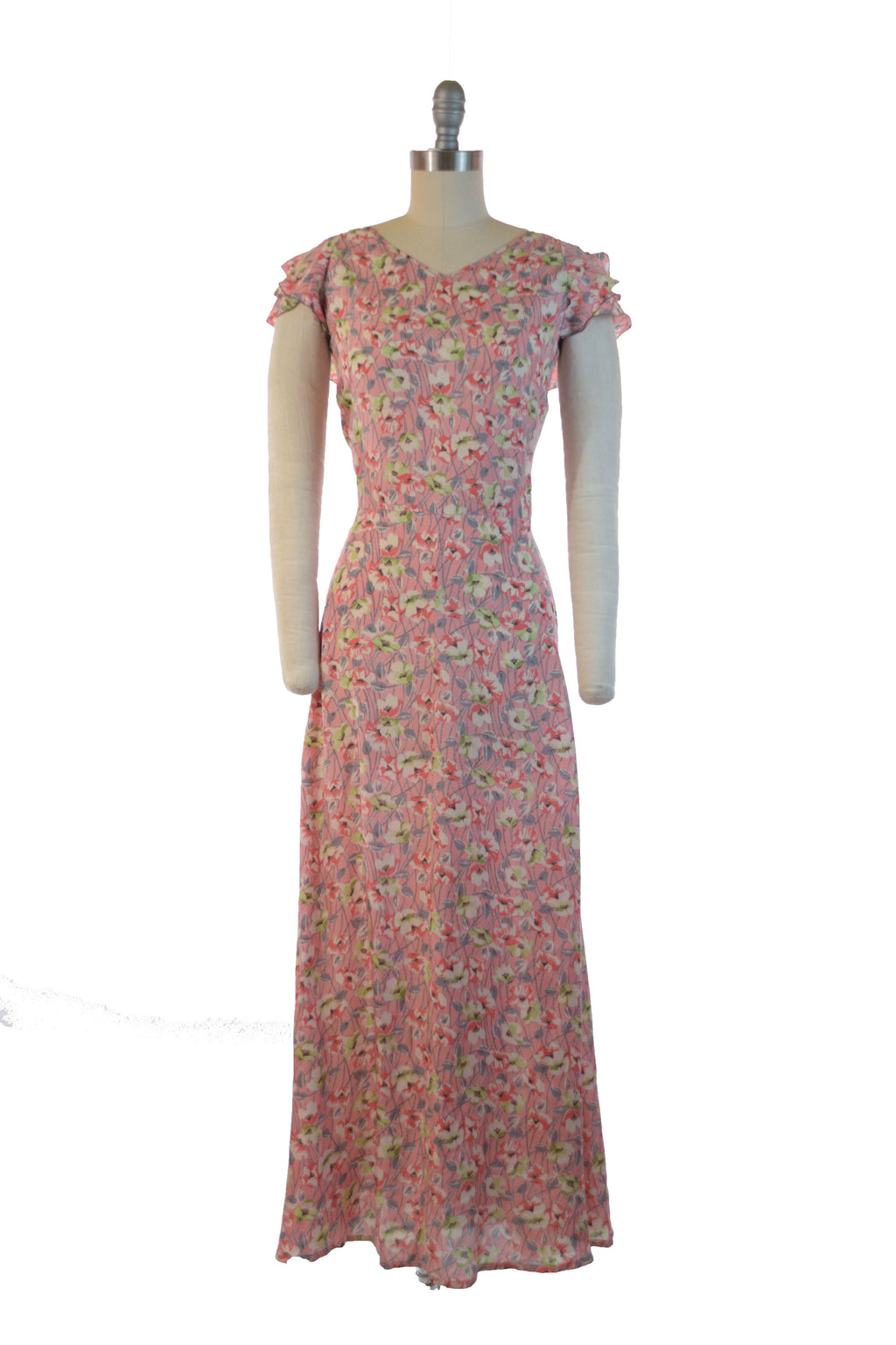 Lovely 1930s Pink Floral Summer Dress with Grey, Green and Coral Print and Ruffled Accent.