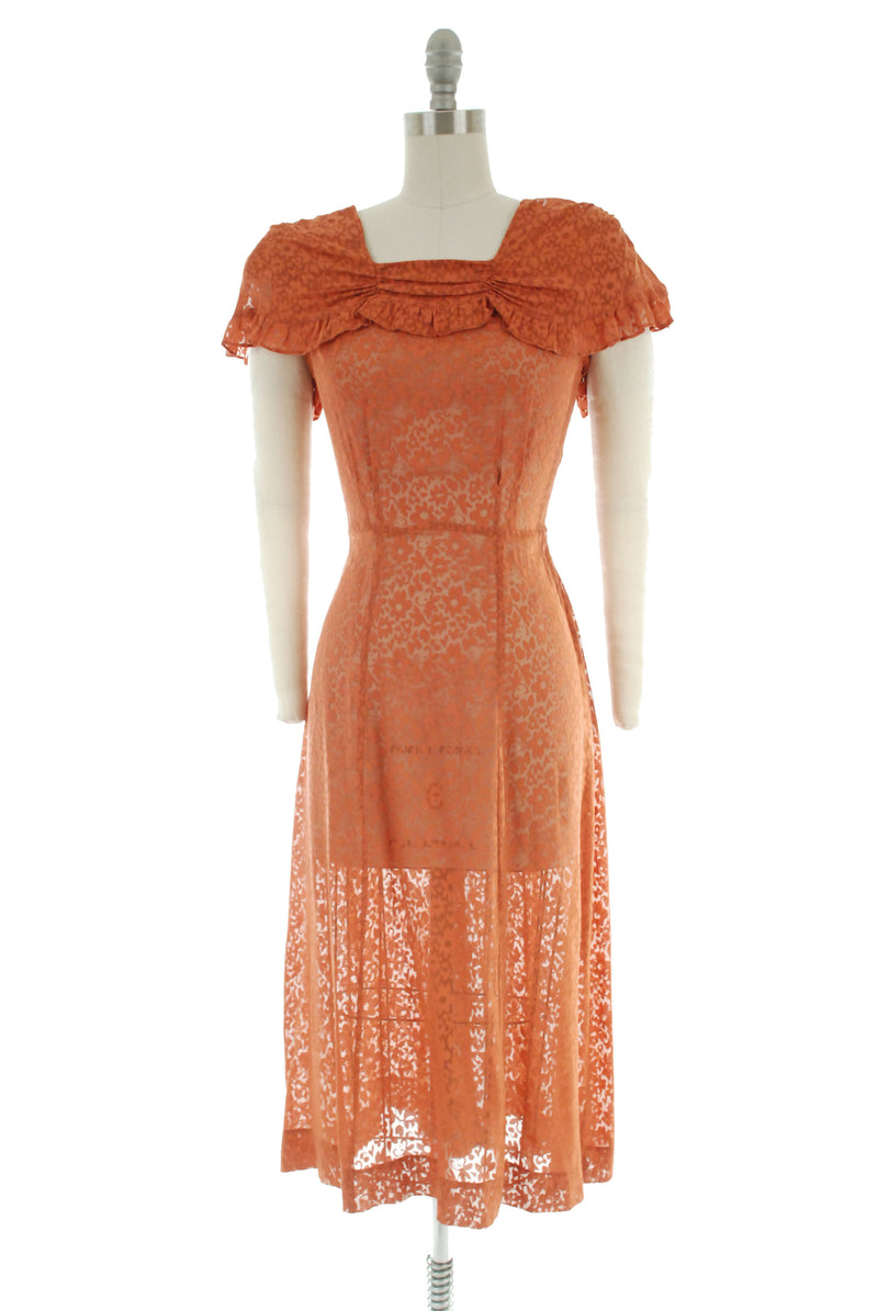 Gorgeous 1940s Day Dress in Muted Orange Sheer Floral Rayon Burnout