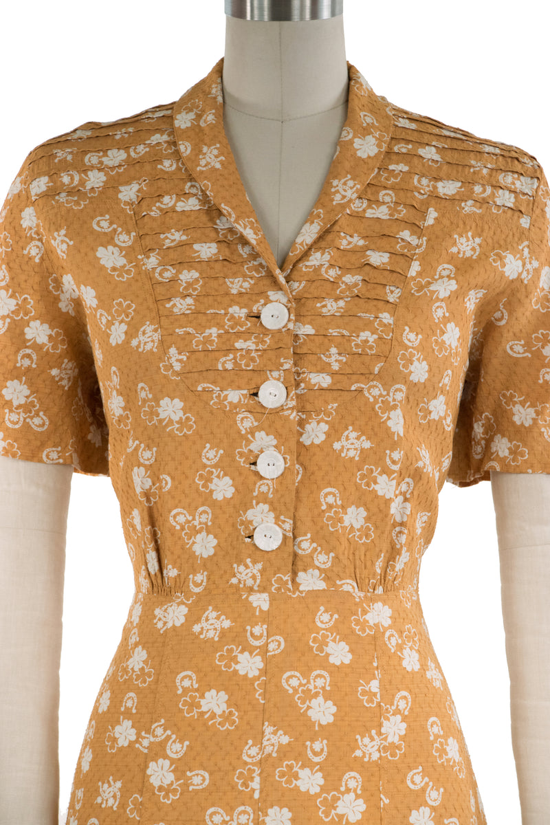 Fantastic 1940s Luck-Themed Novelty Print Dress in Mustard Yellow with Horseshoes and Shamrocks