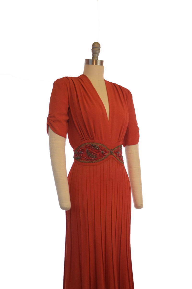 RESERVED on Layaway- RARE Late 1930s Evening Gown in Saturated Vermillion Orange-Red with Beaded Midwaist