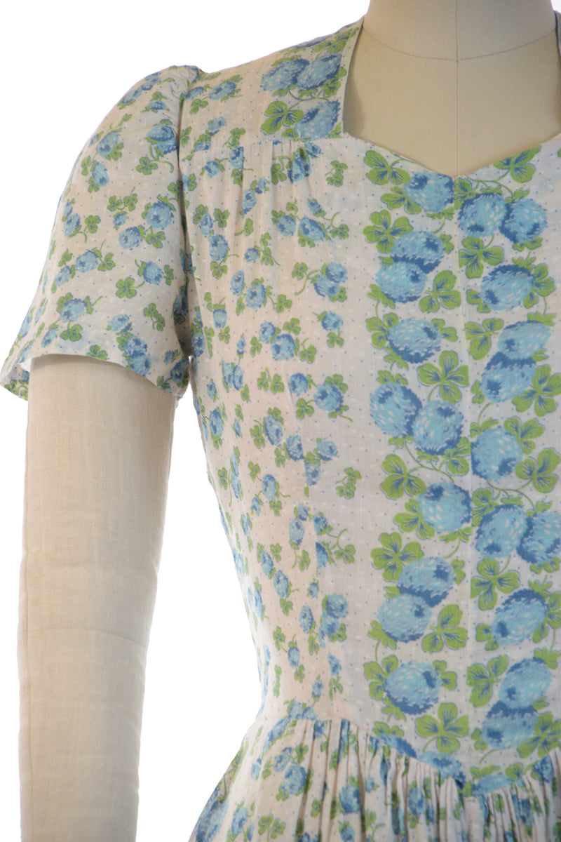 Darling Late 1930s Semi-Sheer Cotton Day Dress with Blue Chrysanthemums
