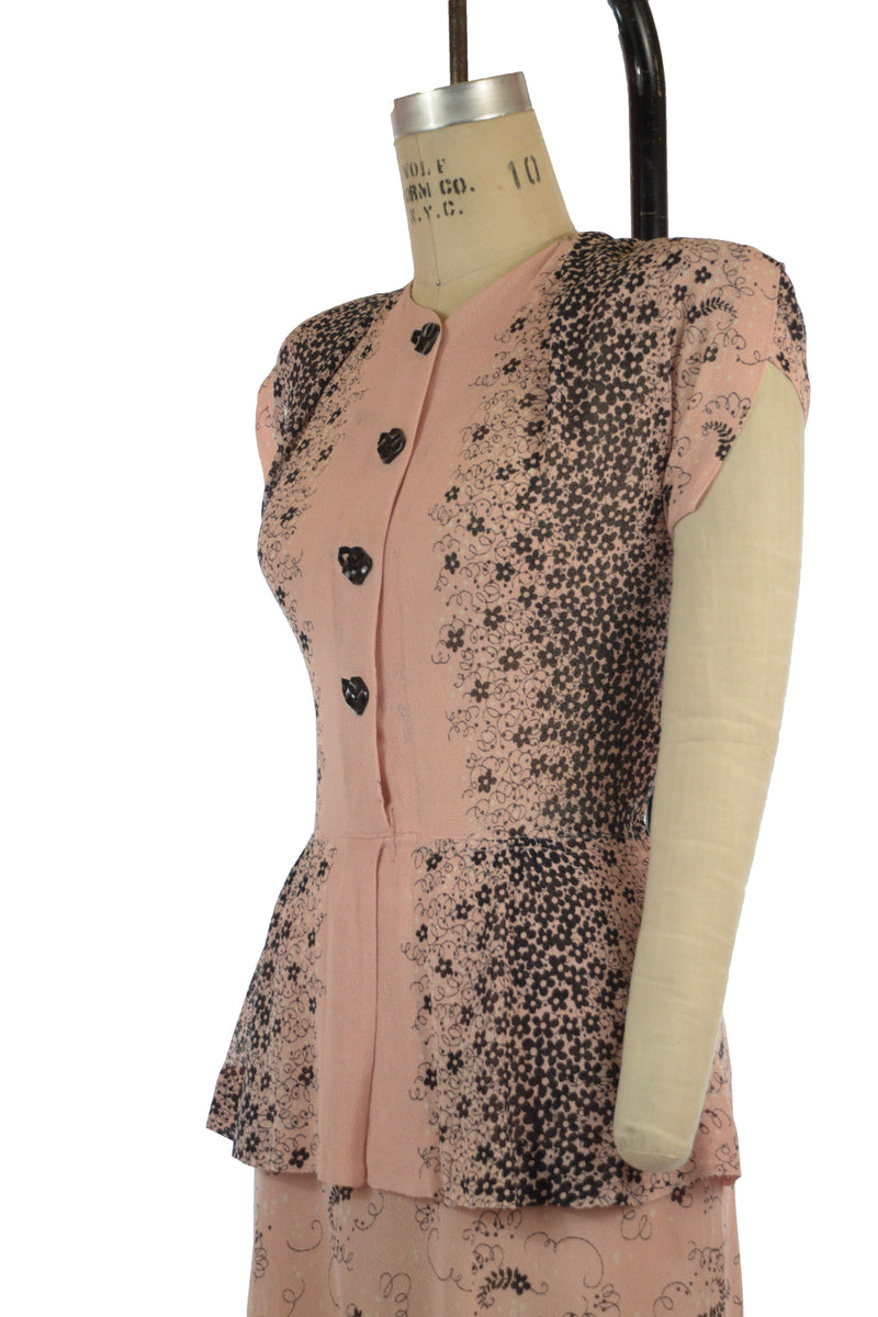 Babely 1940s Pink and Black Summer Rayon Mesh Border Printed Peplum Dress with Killer Shoulders