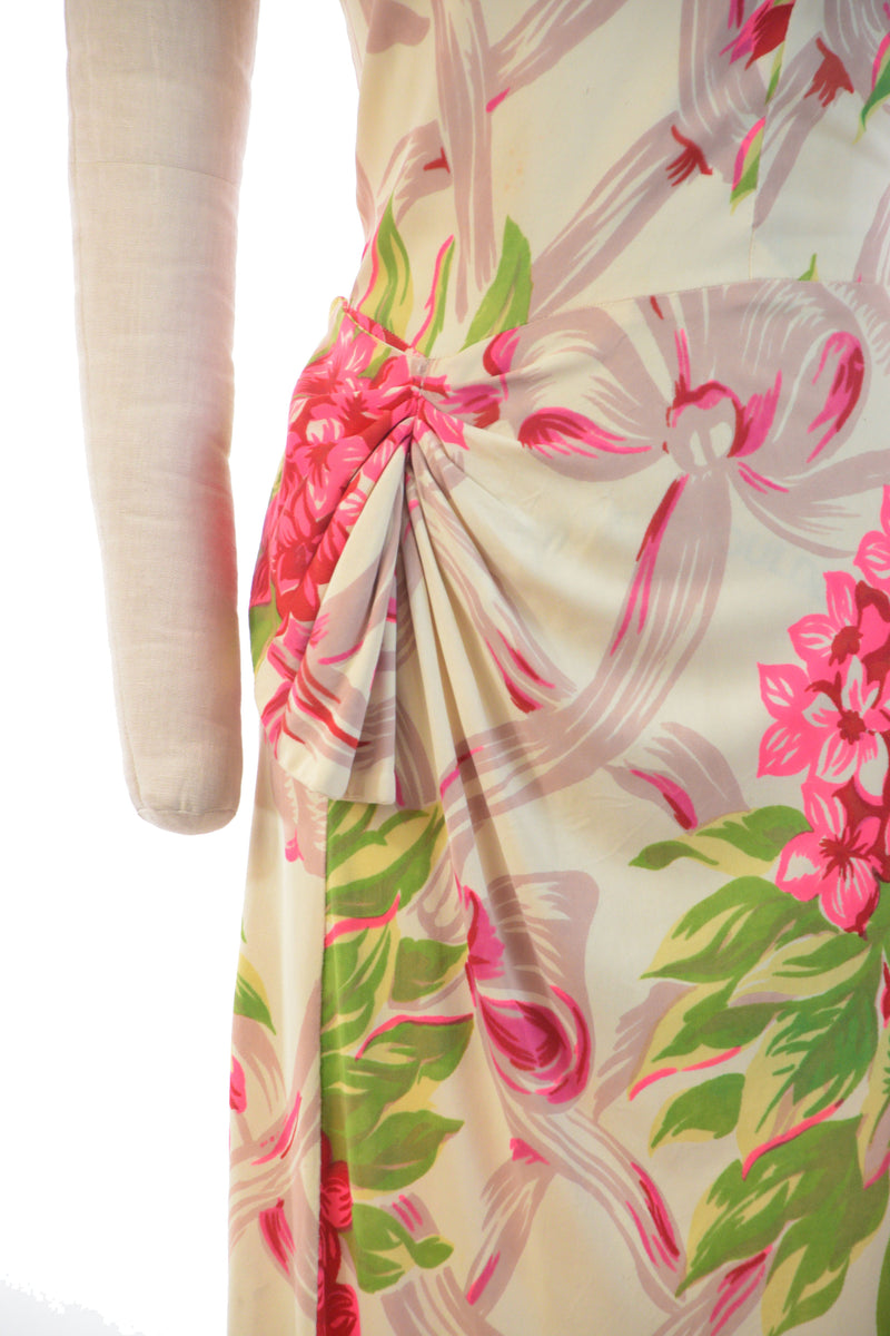 Killer 1940s Draped Rayon Jersey Dress in Day Glow Pink and Chartreuse with Lime Green and Red