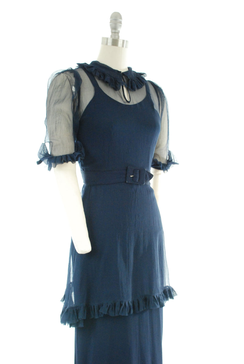 Gorgeous 1930s Rayon Dress Set in Navy Blue Honeycomb Crepe and Silk Chiffon with Belt