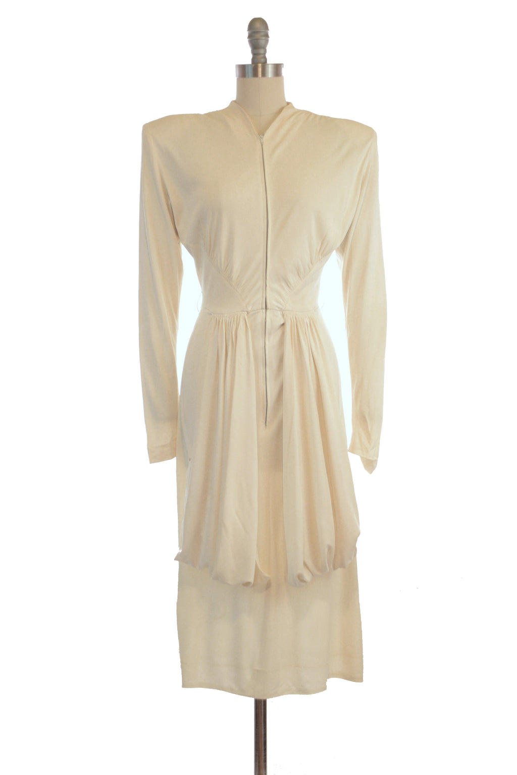 Exceptional 1940s Herbert Sondheim by Troy Stix Designer Cocktail Dress in Ivory Rayon Jersey