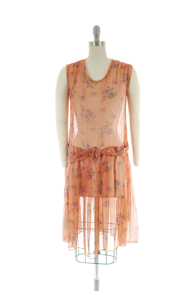 Charming Very Early 30s Cotton Voile Dress with Rose Print
