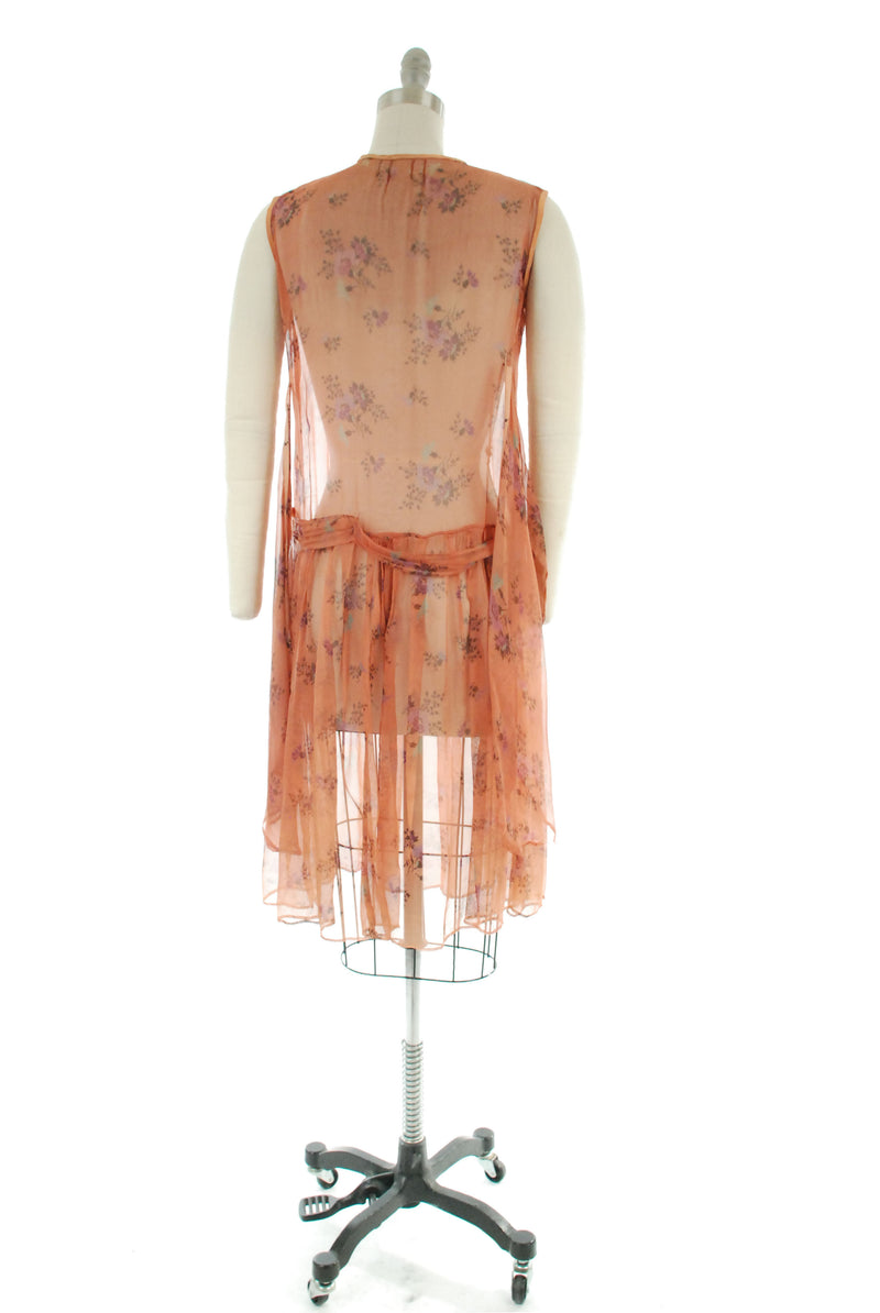 Sheer 1920s Drop Waist Dress in Peach with Purple and Aqua Floral Print