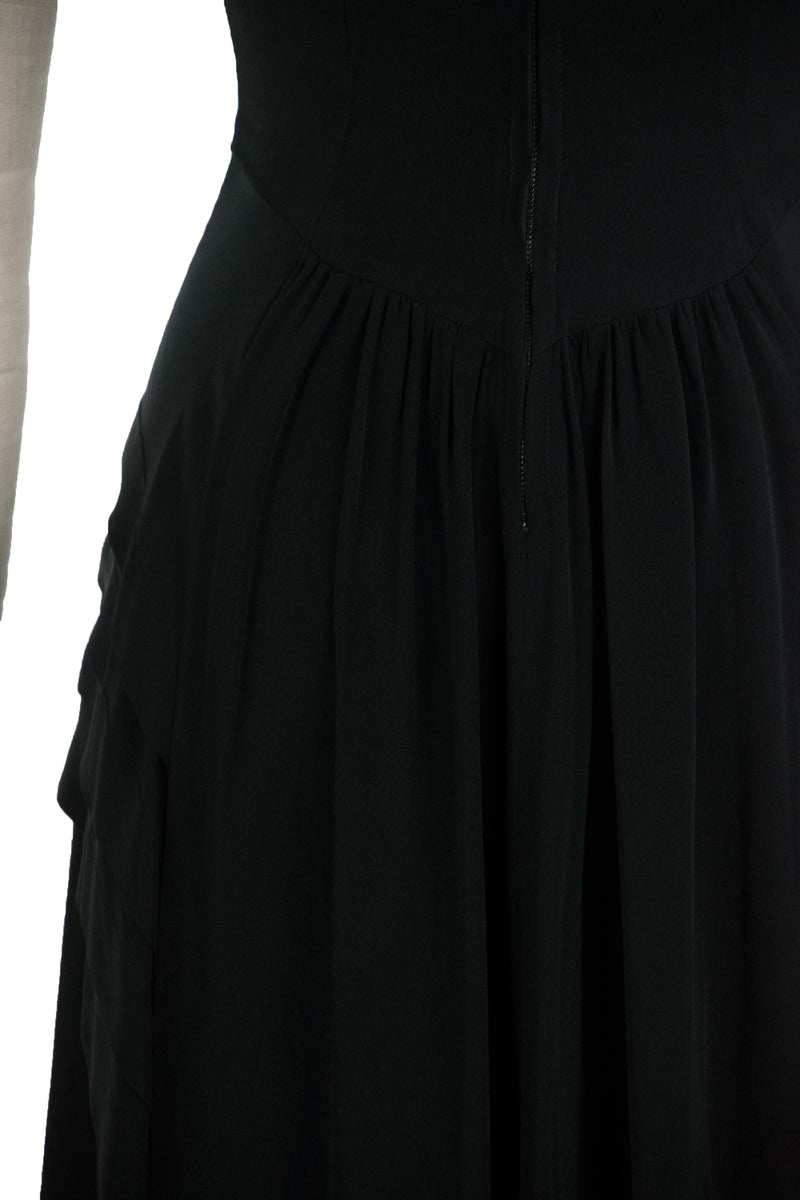 RESERVED Chic 1940s Black Rayon Dress with Tiered Peplum and Beaded Neckline