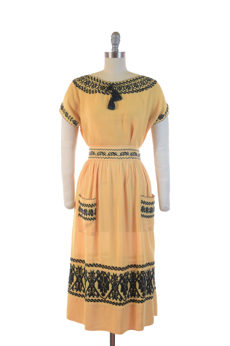 Gorgeous 1940s Lemon Yellow Embroidered Two Piece Set, Mexican or Guatemalan