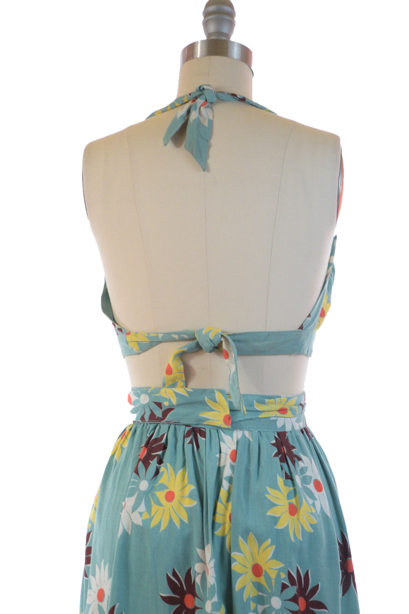 Gorgeous and Rare Late 30s Playsuit Set in Matte Rayon with Tie Top and Wrap Skirt.