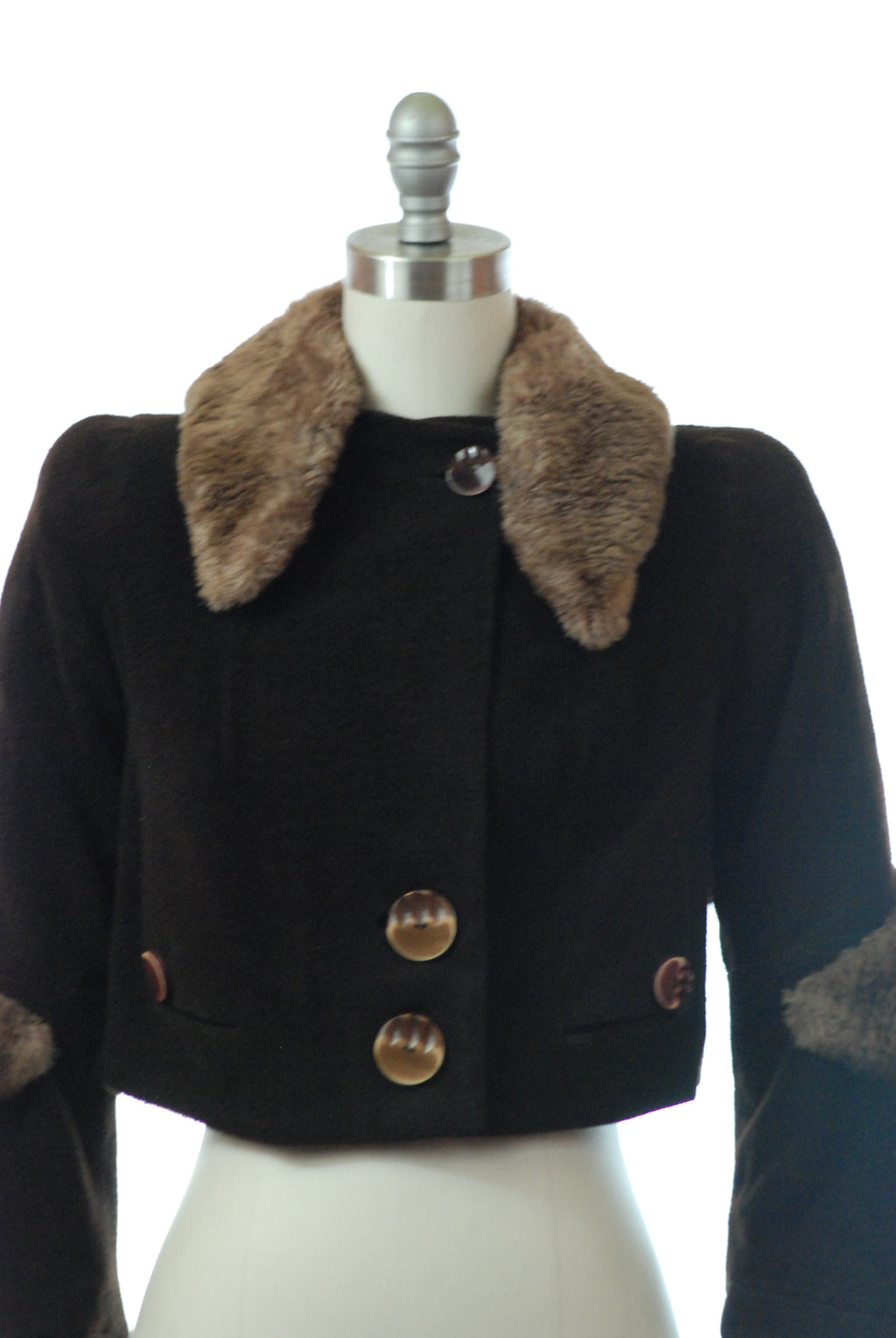 Smart 1930s Cropped Jacket of Ribbed Velour with Cute Buttons