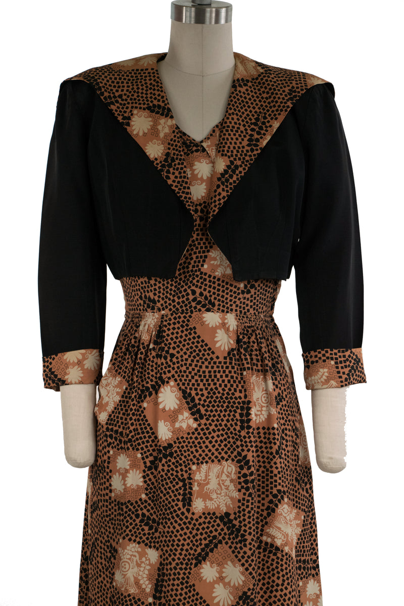 Smart Late 1940s Rayon Day Dress with Matching Faille Jacket As Is