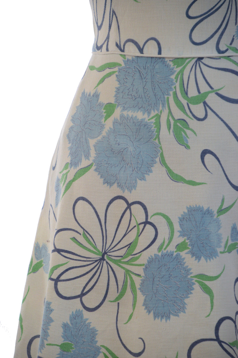 Cute 1940s Summer Sundress in Cotton Pique with Blue Chrysanthemum Floral Print