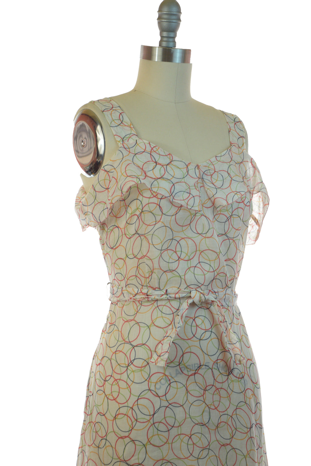 Glorious and Sheer 1930s Art Deco Summer Gown with Colorful Hoop Print