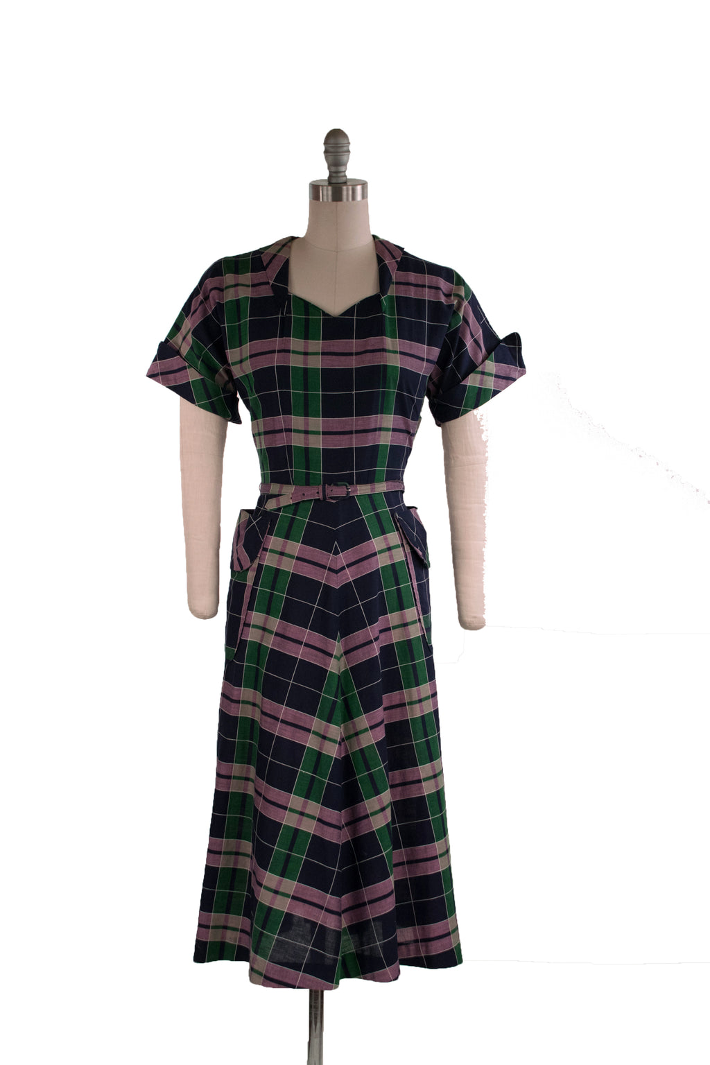Rich c. 1949 Plaid Day Dress of Cotton Dan River Fabric in Purple, Blue and Green