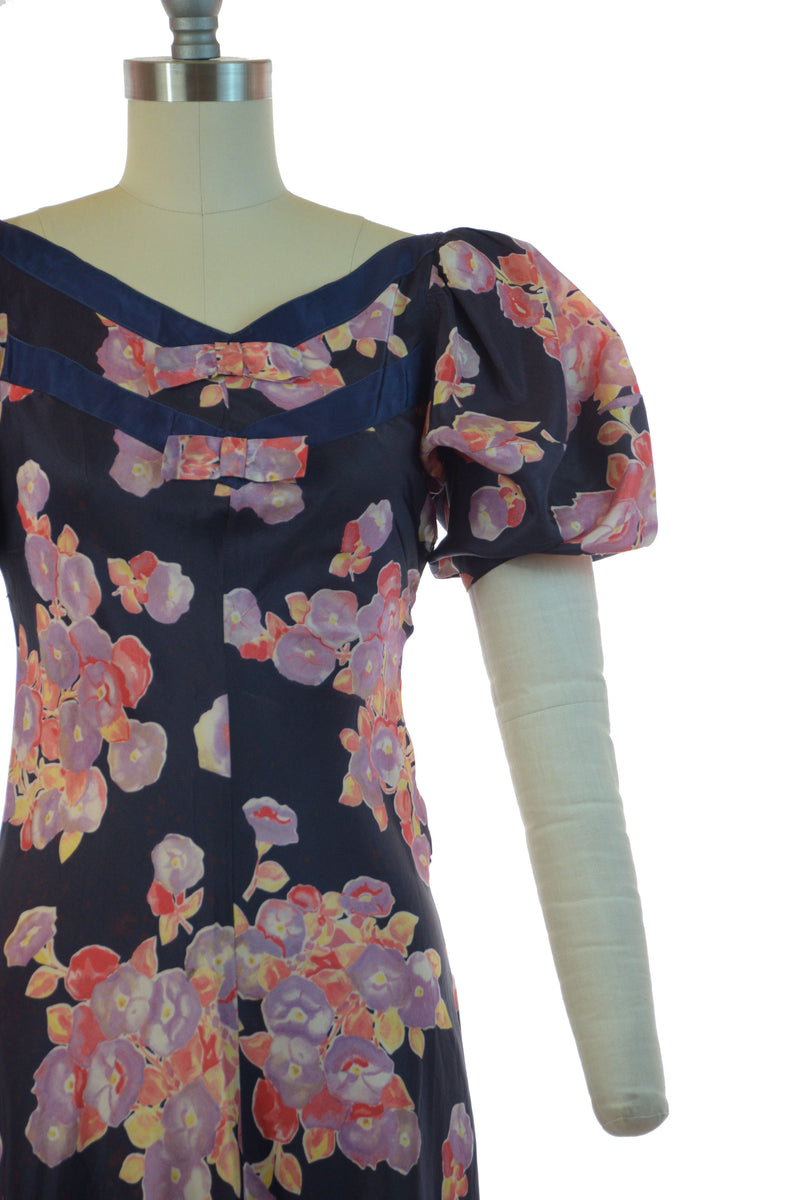 Dramatic 1930s Navy and Purple Printed Floral with Puffed Sleeves As Is