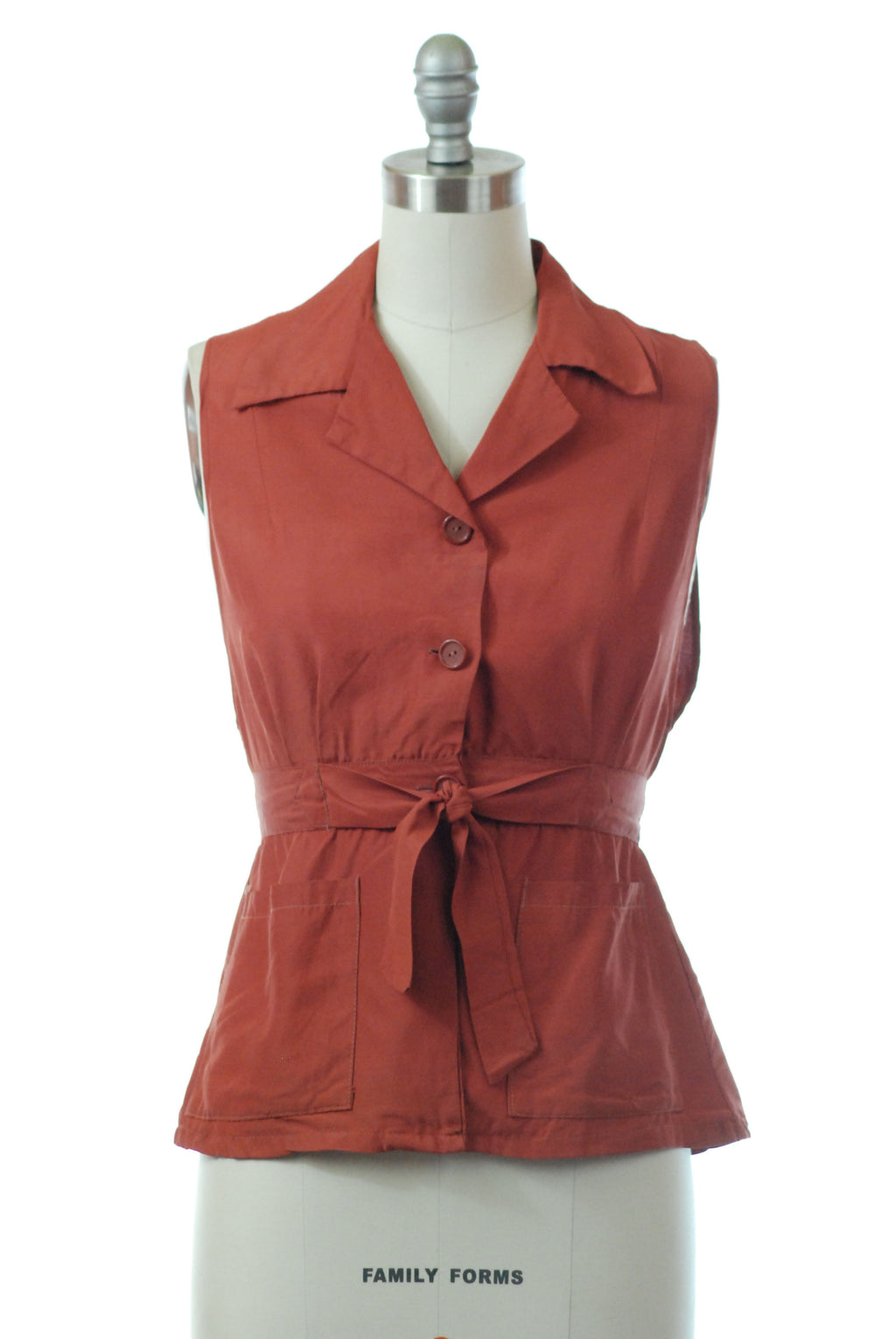 Smart 1940s Rayon Faille Belted Vest in Muted Rust