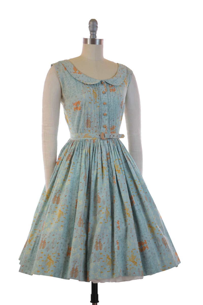 Uniquely Printed 1950s Cotton Novelty Dress with Bizarre Undersea-esque Woodblock Art Print