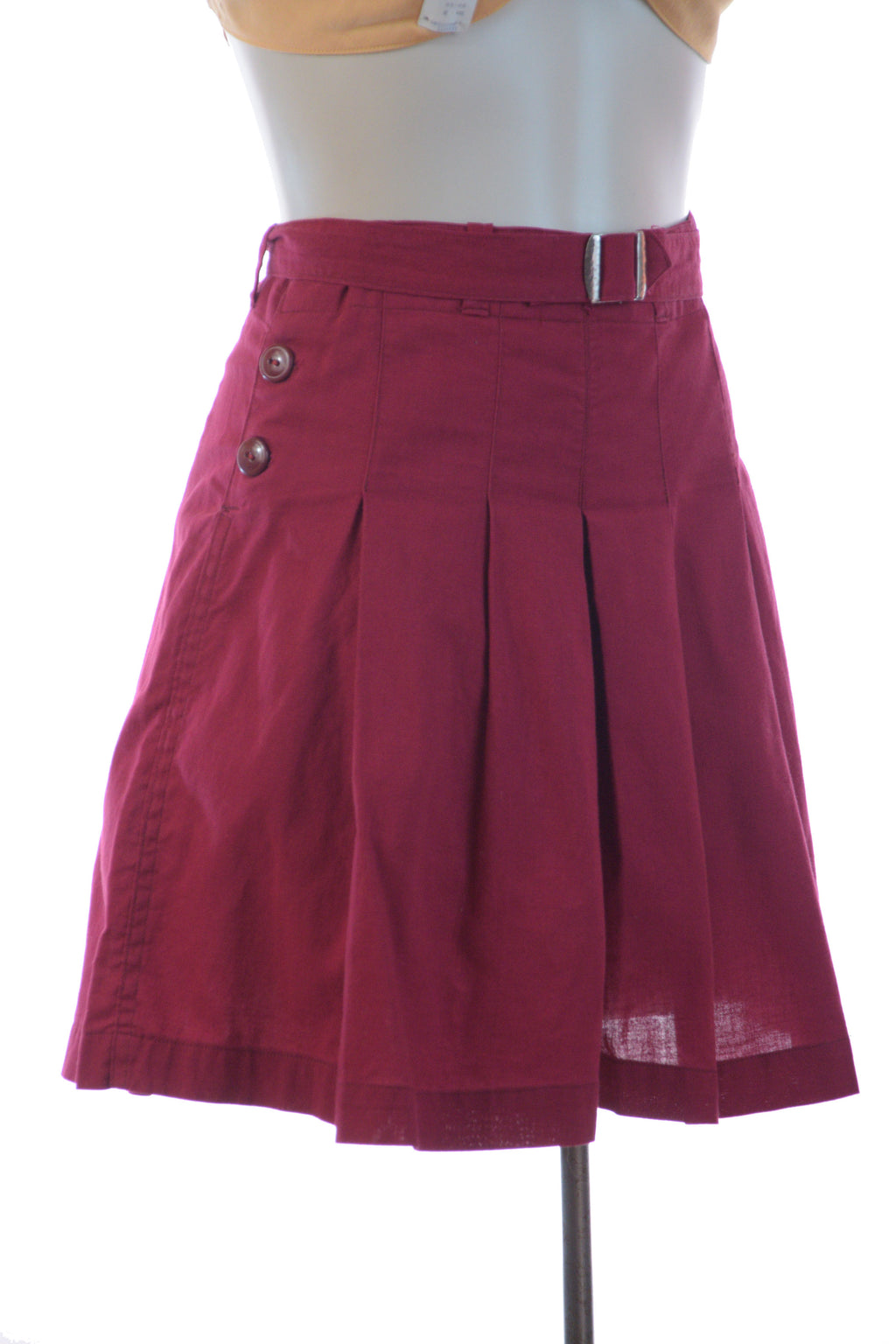 "Rare 1930s Deep Burgundy High Waist Shorts with Pleated Legs and Original Belt, ""Palais Royal, The House of Fashion"""