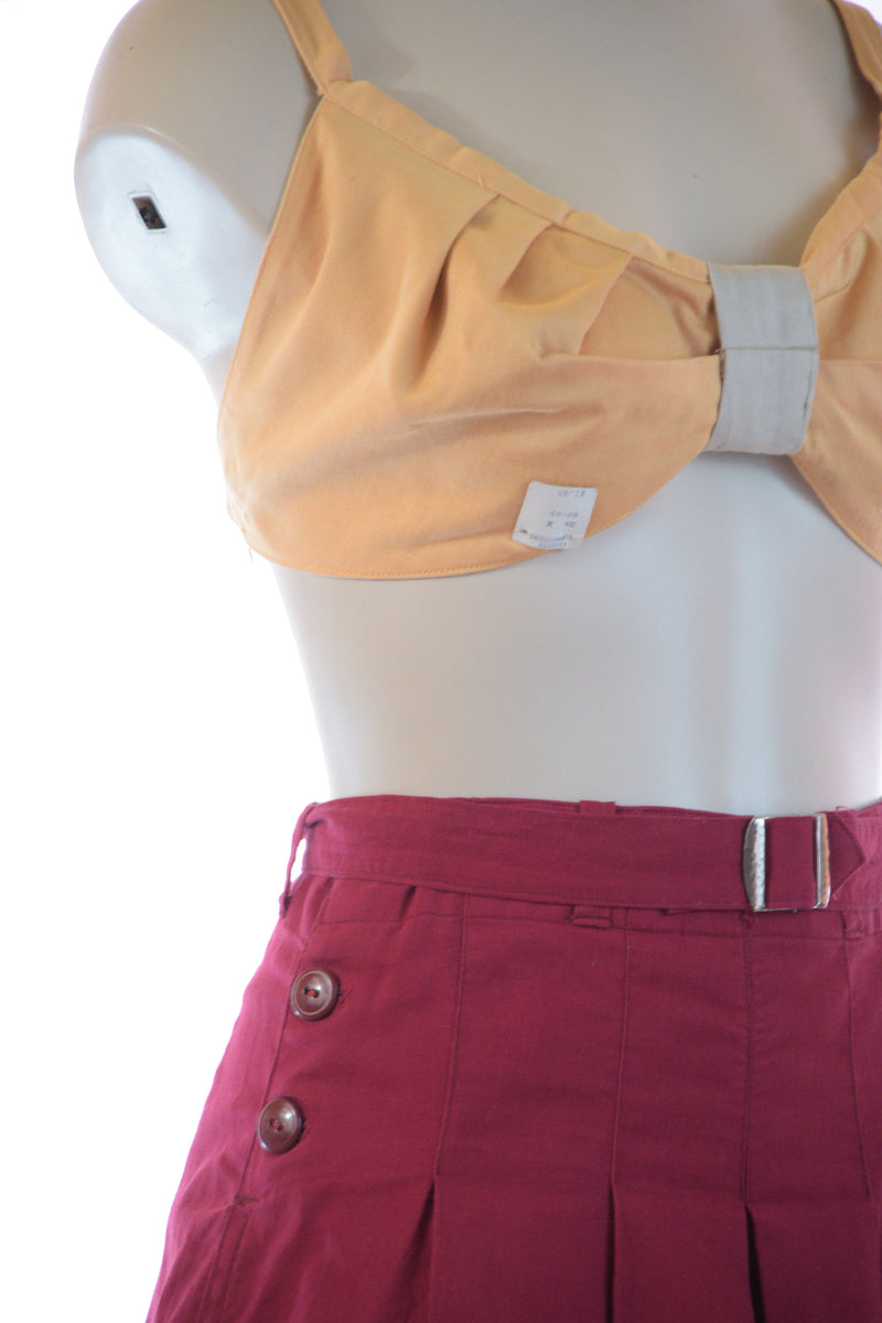 Deadstock 1940s Reversible Gabardine Halter Bra Top in Butter Yellow and Beige