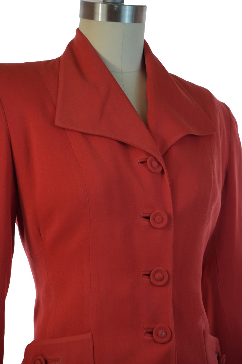 Smart late 1940s Tailored Red Gabardine Suit with Winged Collar and Button Accents