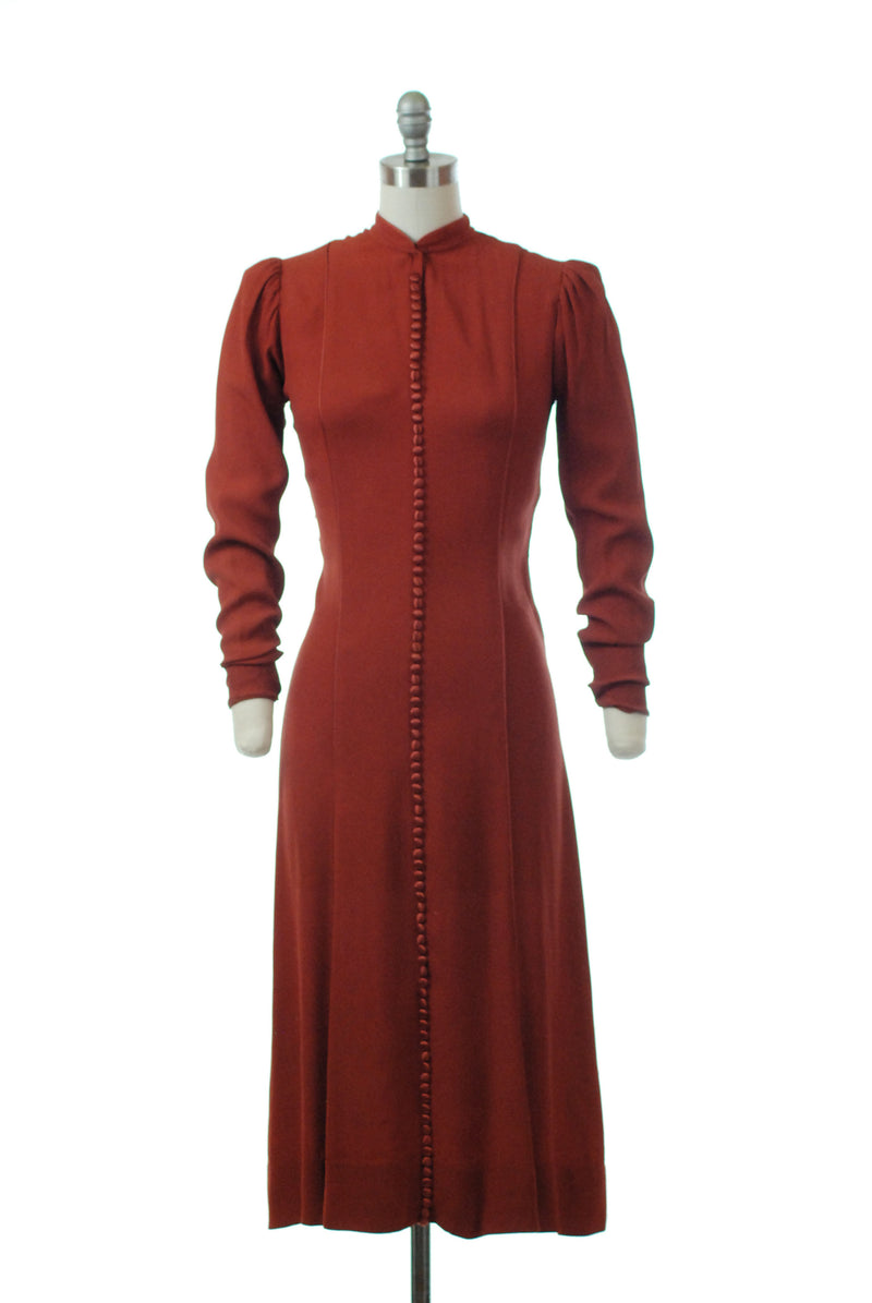 Gorgeous 1930s Rust Colored Dress of Rayon Crepe with Satin Buttons up the Front