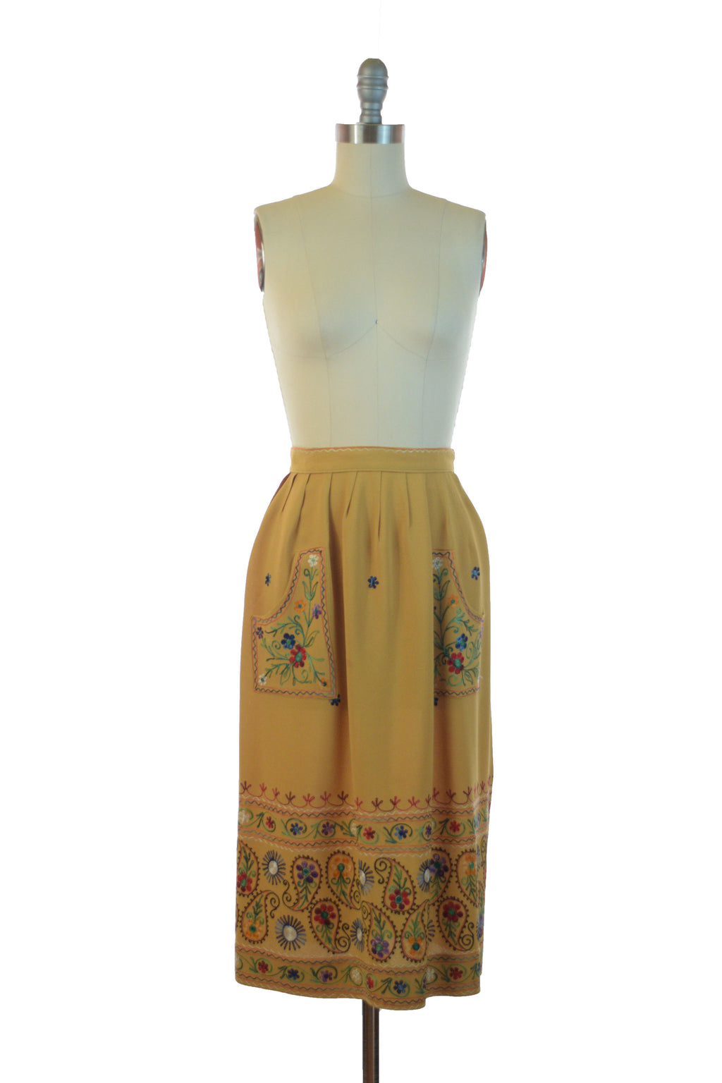 RESERVED ON LAYAWAY Stunning 1940s Embroidered Skirt of Mustard Rayon with Folkwear Inspired Multi-Colored Embroidery