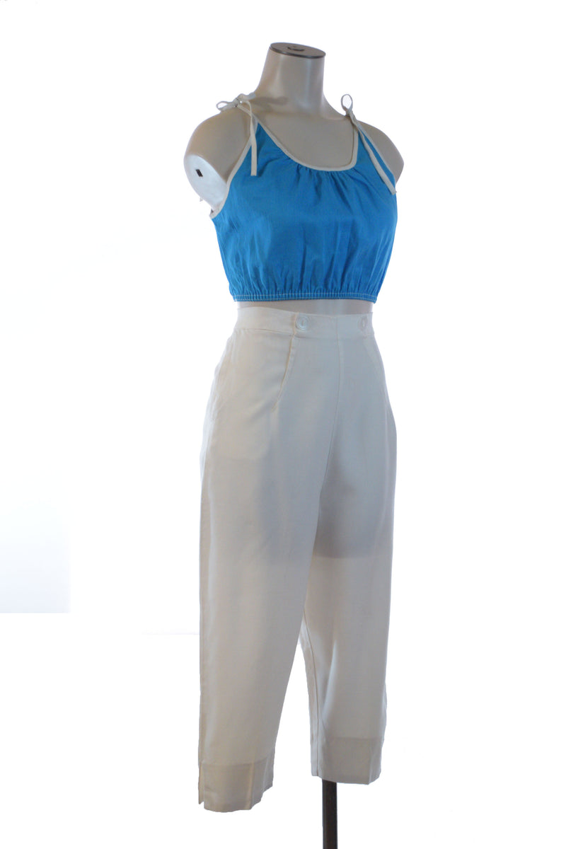 RARE 1950s Bright Blue Cotton Midriff Style Sleeveless Peasant Top Blouse