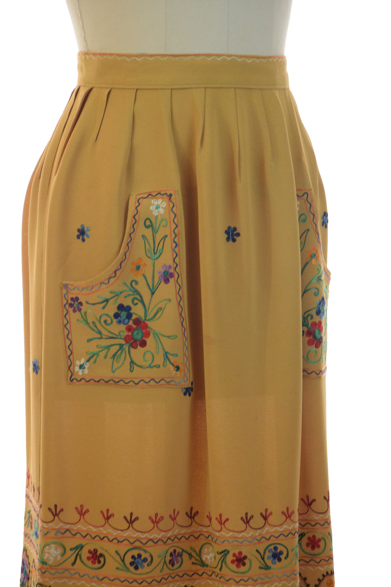 Stunning 1940s Embroidered Skirt of Mustard Rayon with Folkwear Inspired Multi-Colored Embroidery