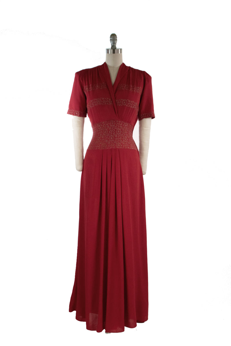 Glorious Late 1930s New York Creation Red Evening Gown with Gold Metallic Embroidery