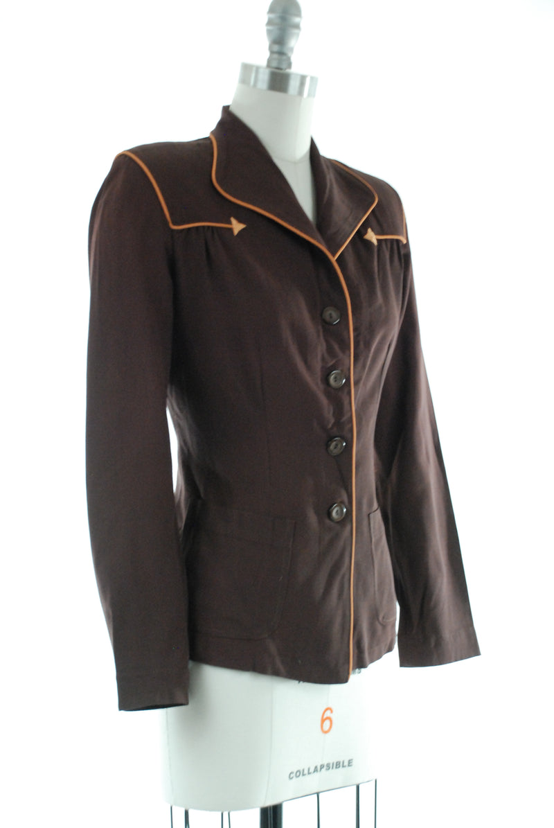 Smart 1940s Tailored Brown Gabardine Jacket with Western Arrows