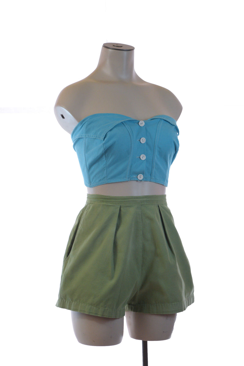 Sassy 1950s Super Short Summer Shorts in Sturdy Olive Green Cotton