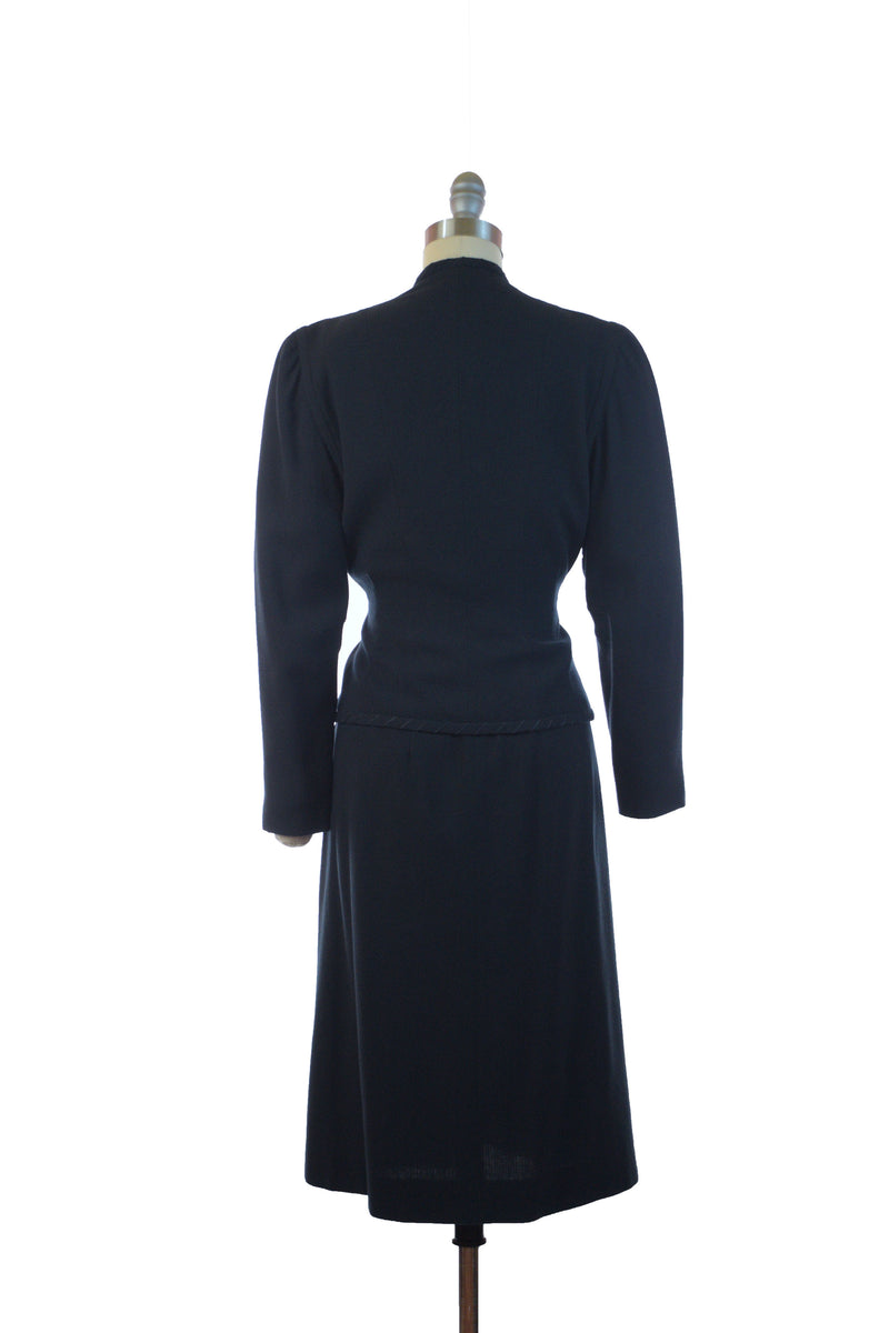 Sophisticated 1940s Tie Front Suit in Midnight Blue Wool Crepe
