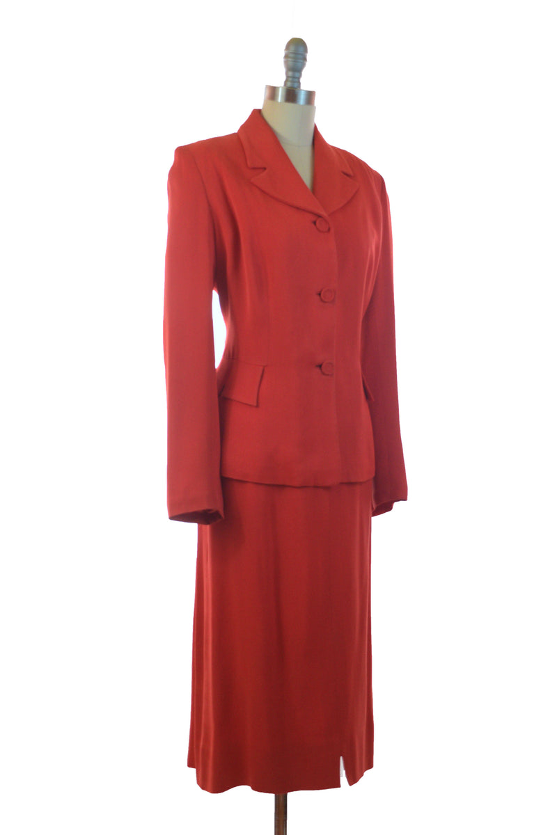 Classic 1940s Cherry Red Gabardine Suit with Four Gore Skirt
