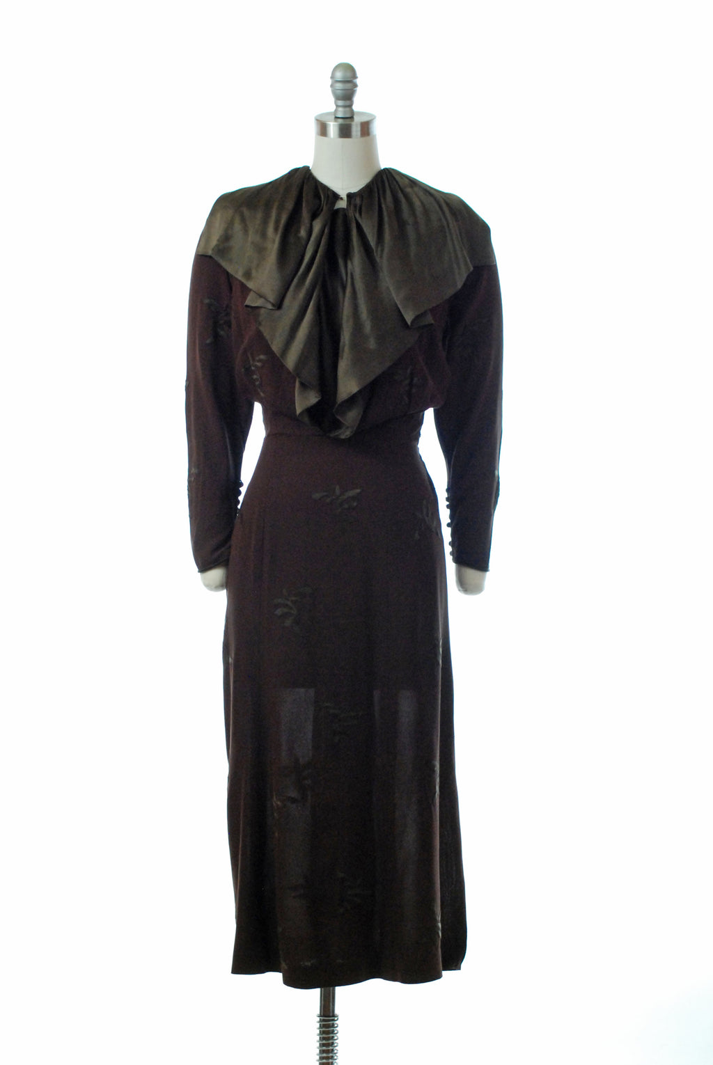 Elegant Mid 1930s Dress Dated 1934 in Appliqued Brown Crepe with Wide Silk Satin Collar