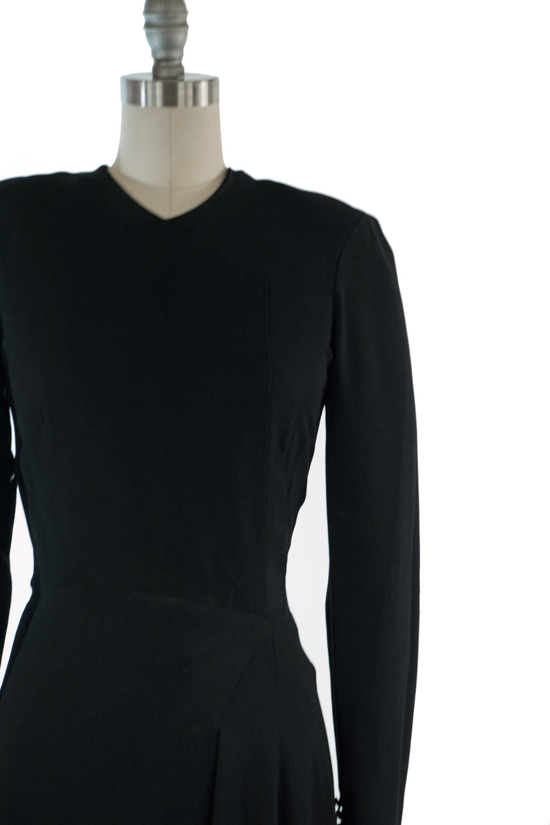 Rare 1930s Black Erlebacher Evening Gown with Sleek Lines and Long Sleeves