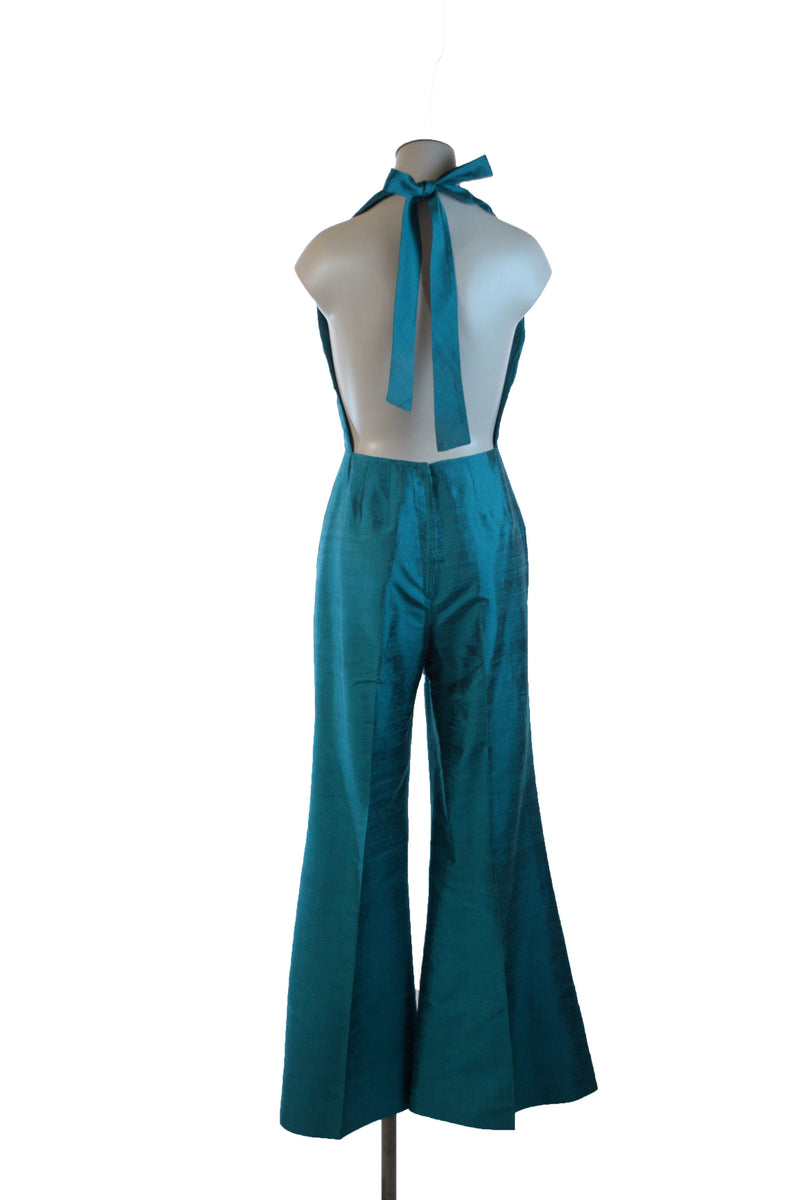 Killer 1970s Backless Jumpsuit in Teal Hued Raw Silk with Bell Bottoms