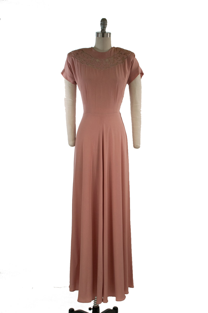 Romantic 1940s DuBarry Evening Gown with Lace Neckline