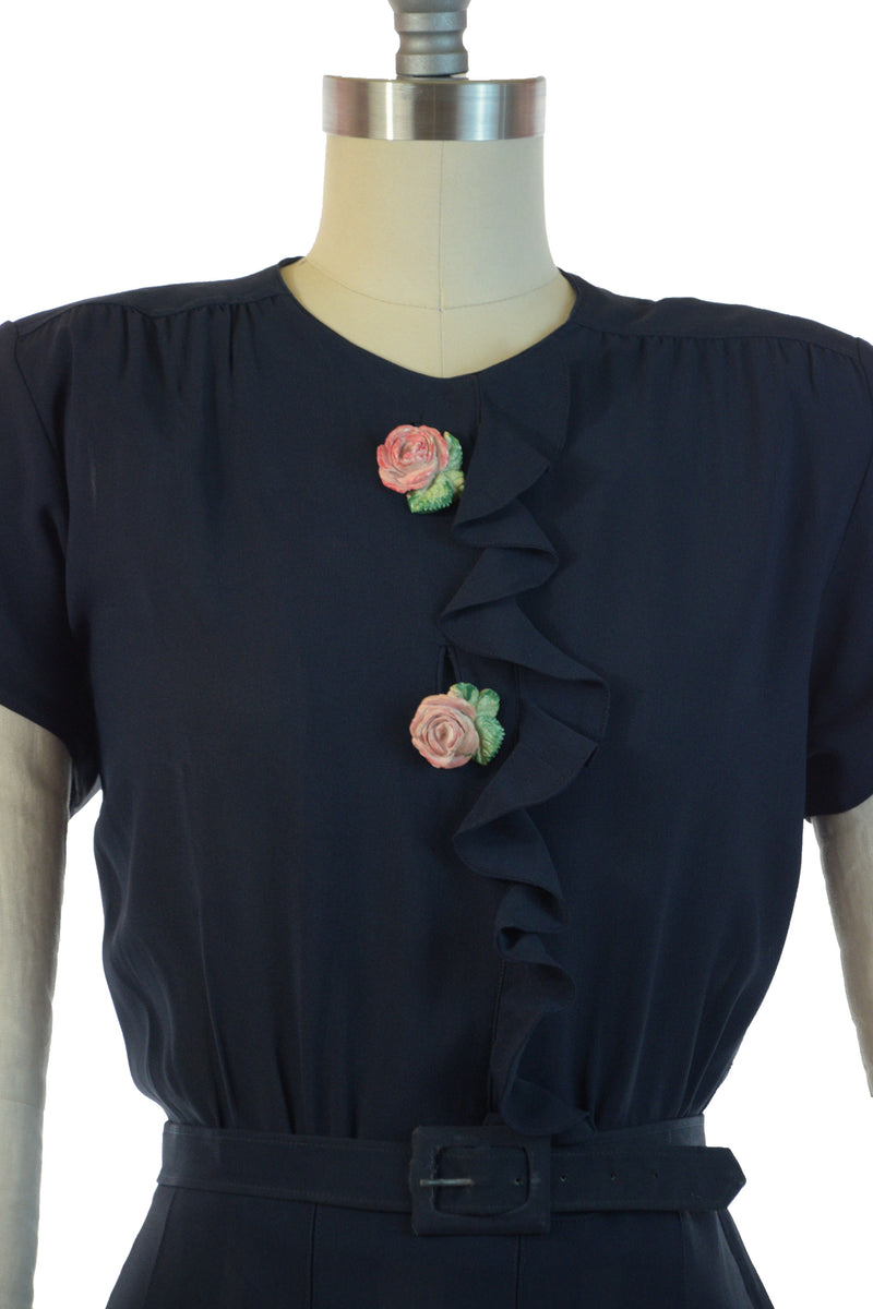 Gorgeous Late 1930s Dress in Navy Blue with Ruffled Bodice and Rose Buttons by George Hess