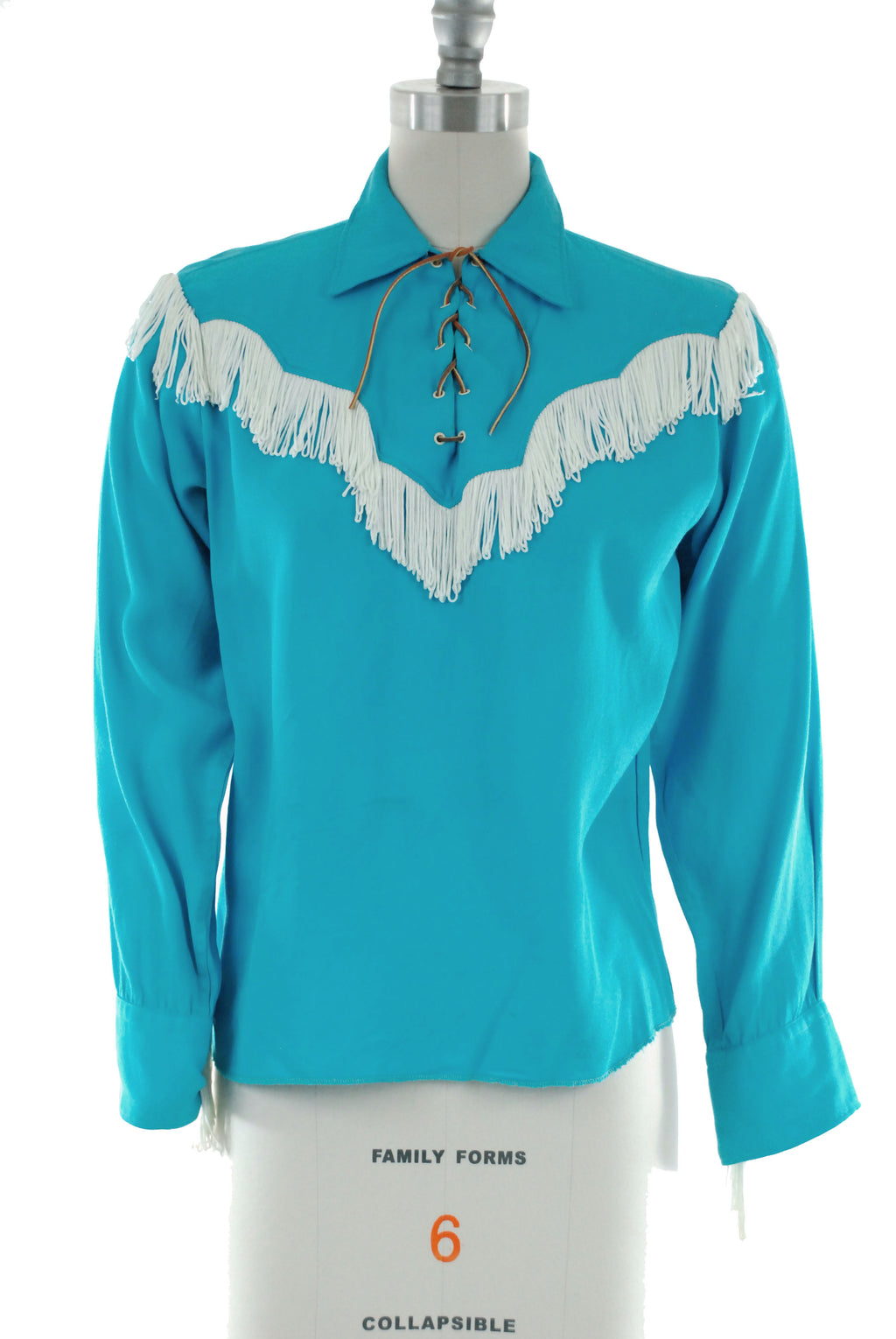 Fringed 1950s Ladies' H Bar C Western Pullover in Turquoise Blue