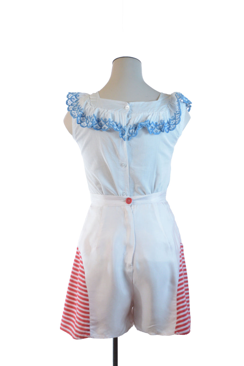 Cutest 1940s Summer Shorts in White Celanese with Red and White Stripe Rayon Insets