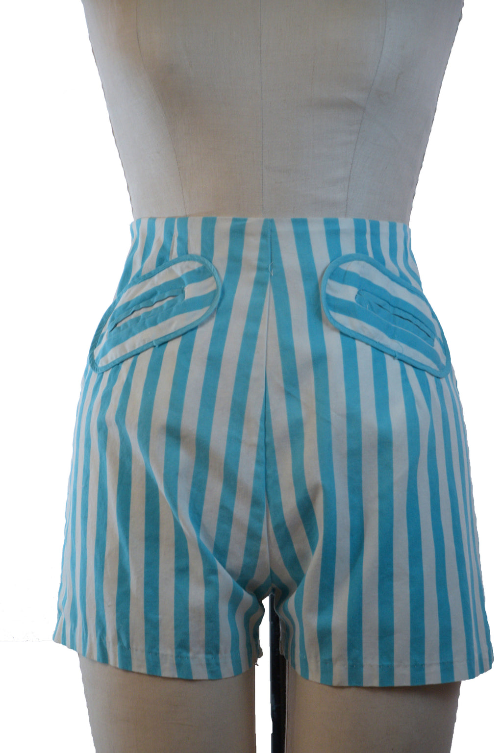 Sporty 1950s Bright Blue and White Striped Cotton Shorts with High Back