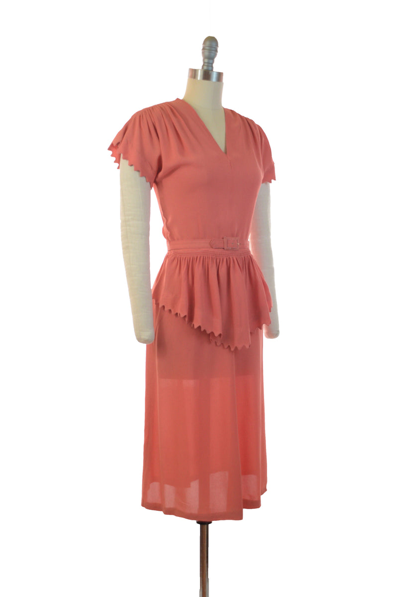 Fantastic 1940s Day Dress of Coral Rayon Crepe with Sawtooth Peplum