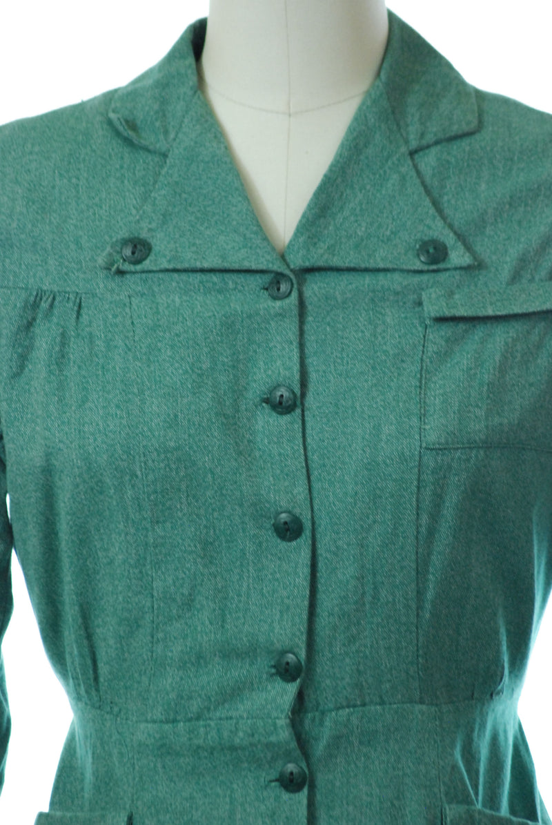 Classic 1940s Girl Scouts Uniform Dress with Long Sleeves