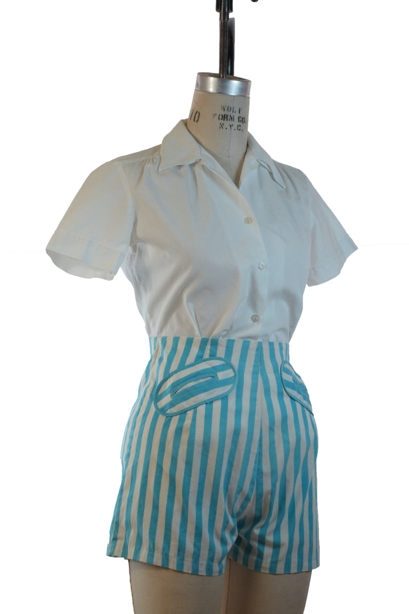 "Cute 1950s Better-than-Basic ""Flip-a-Collar"" White Cotton Blouse with Two Collar Options"