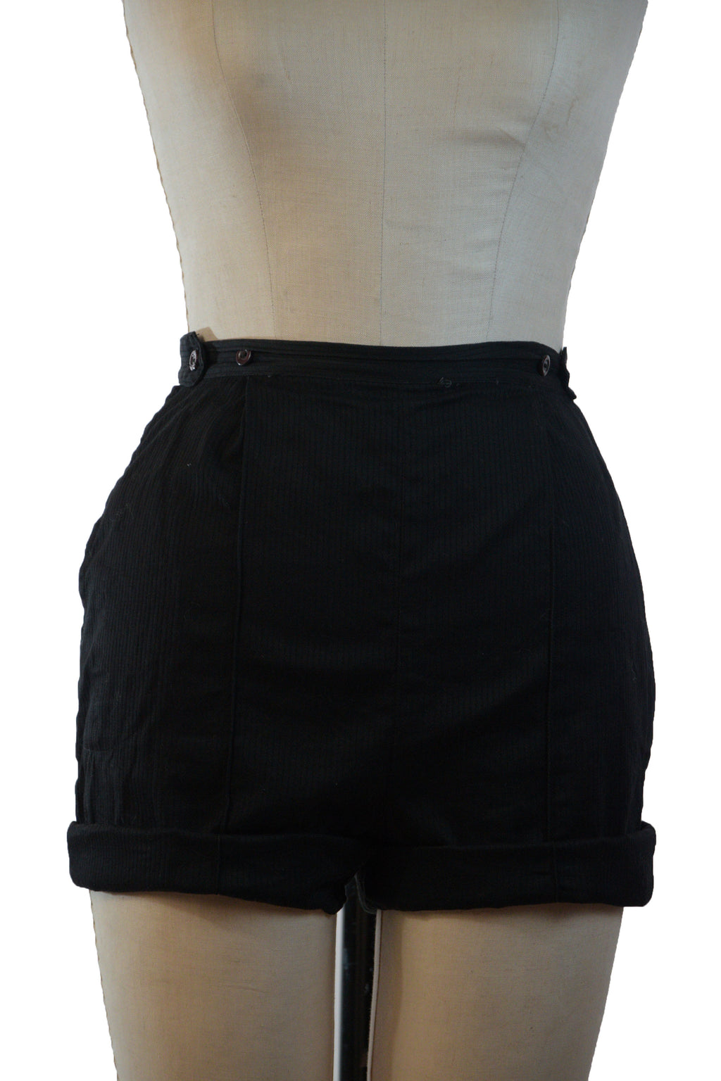 Ideal 1950s Black Ribbed Cotton Shorts with Adjustable Button Waist.