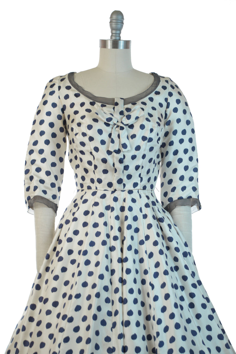 RARE 1950s SOPHIE GIMBLE Designer Silk New Look Gown from Saks Fifth Avenue in Navy and White